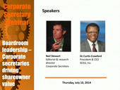 Corporate Secretary Webinar: Boardroom leadership – Corporate secretaries driving shareowner value